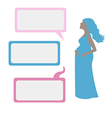 Pregnant woman with dialog boxes vector image