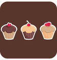 Sweet muffin cakes isolated on dark background vector image