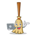 with laptop broom character cartoon style vector image