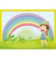 A smiling girl and a rainbow vector image vector image