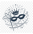 Icon mardi gras mask black and white vector image