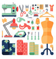 thread supplies hobby accessories sewing equipment vector image