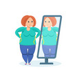 full girl looks in mirror wanting to lose weight vector image