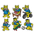 cartoon character set of cute little wildcat vector image