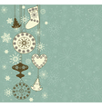 Christmas retro background with toys vector image