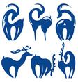 Silhouette Goats icons and Christmas deers vector image vector image