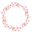 Detailed contour wreath with herbsroses and wild vector image