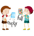 Boy with empty jar and boy with full jar vector image