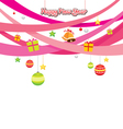 Party Objects Icons Decorating On Pink Ribbons vector image