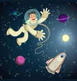 astronaut in open space with shuttle and some vector image