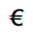euro glitch icon on white background vector image
