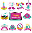 Flat Design Anniversary Emblems Set vector image
