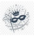 icon mardi gras mask black and white vector image