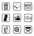 movie icons set on white background vector image