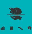 roasted turkey icon flat vector image