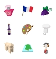 Stay in France icons set cartoon style vector image vector image