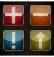 Glossy square icon set with knitted pictograms vector image vector image
