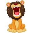 Cartoon happy lion roaring isolated vector image