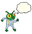 cartoon alien spaceman with thought bubble vector image