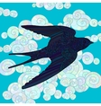 Flying swallow with high details vector image