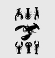 Rock Lobster Silhouettes vector image