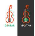 Guitar music shop logo Guitar lessons icon Outline vector image