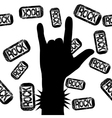 rock on sign vector image