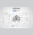 webinar concept with business doodle design style vector image