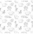 Wild animals seamless pattern cartoon style vector image