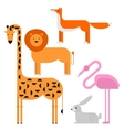 Wildlife zoo collection of cute cartoon animals vector image
