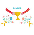 winner cup with cute design vector image