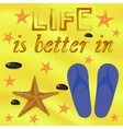 Starfish and Sea Stones Blue Slippers on Beach vector image