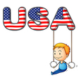 The USA letters with a young boy playing vector image vector image