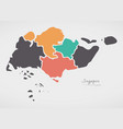 singapore map with states and modern round shapes vector image