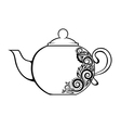 teapot decorated black and white floral ornament vector image vector image