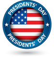 Presidents day blue label with USA flag vector image vector image
