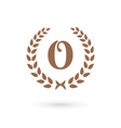 Letter O laurel wreath logo icon design template vector image