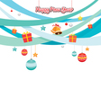 Party Objects Icons Decorating On Blue Ribbons vector image