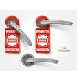 door handles with hanging signs site under vector image
