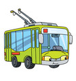 funny small trolleybus with eyes vector image