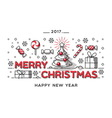 Merry Christmas outline style design vector image