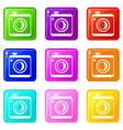 vintage photo camera set 9 vector image