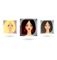 Set of three beautiful girls avatar vector image vector image
