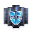 Server Rack Security Shield Realistic vector image