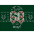 Vermont skiing with Norwegian knitting motif vector image