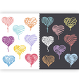 Color hand drawn hearts set vector