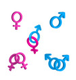 bright men and women gender signs with vector image