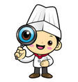 cartoon chef character look through a magnifying vector image