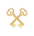 crossed golden keys isolated on white background vector image