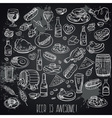 hand drawn beer and food vector image
